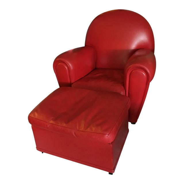 Poltrona Frau Vanity Fair Armchair and Ottoman in Red Leather - A ...