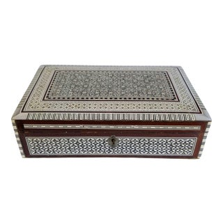 Vintage Arabic Mother of Pearl Wooden Inlay Box For Sale