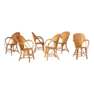 Set of Six Le Corbusier Rattan Chairs