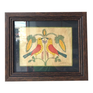 Mid 20th Century Folk Art Birds by Evelyn S Dubiel For Sale