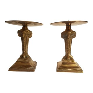 1960s Brass Ram Head Candle Holder With Large Base - a Pair For Sale