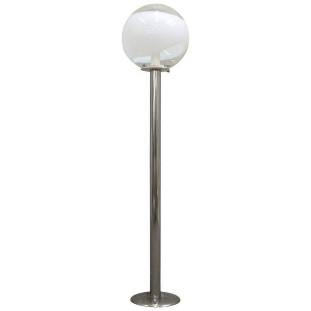 1960s Mazzega Style Tubular Chrome and Murano Glass Floor Lamp For Sale - Image 9 of 9