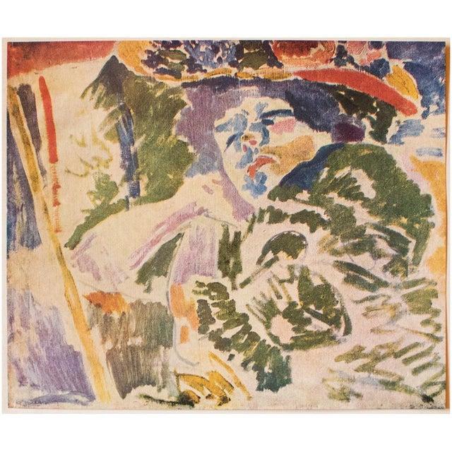 """A lovely vintage original period offset lithograph after painting """"La Femme Au Transatlantique"""" (The Woman at the..."""