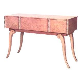 1940s Art Deco Parcel-Gilt Maple Console Table For Sale