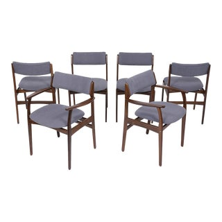 Set of Six Mid Century Modern Teak Dining Chairs For Sale