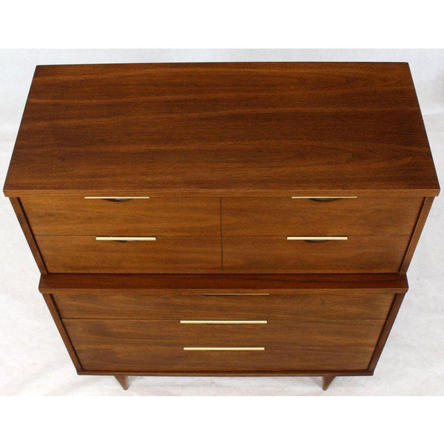 1970s Five Drawers Walnut High Chest Dresser For Sale - Image 5 of 11