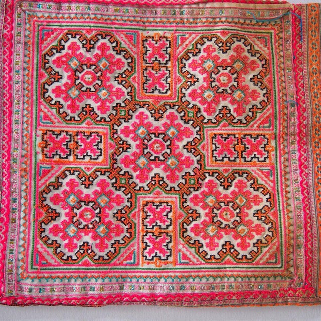 Vintage Needlepoint Pink Beaded Pom Pom Thai Textile - Image 5 of 7