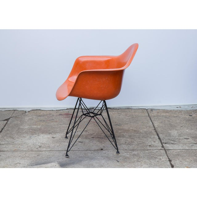 Herman Miller Eames Molded Fiberglass Armchair in Orange For Sale - Image 4 of 10