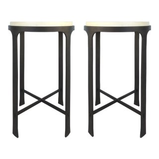 Iron & Goatskin Side Tables Attributed to Holly Hunt- a Pair For Sale