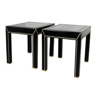 Vintage Mid-Century Italian Leather Studded Side Tables - A Pair For Sale