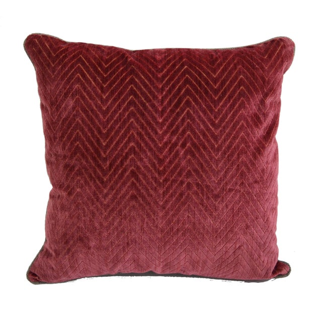 "Scalamandré Red ""Fire Stitch"" Velvet Pillow For Sale - Image 9 of 9"