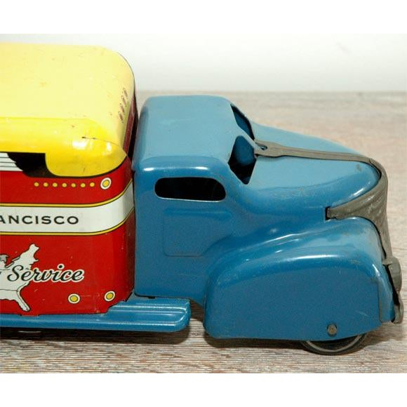 The American School Marx Tin Litho Highway Express Toy Truck For Sale - Image 3 of 8