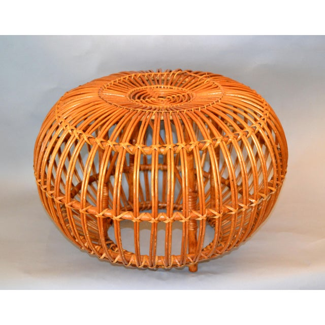 Vintage Franco Albini Hand-Woven Rattan / Wicker Ottoman Pouf For Sale - Image 12 of 12