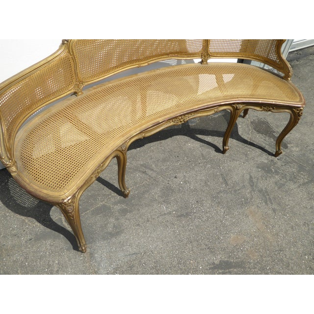 Metal Antique French Provincial Louis XVI Rococo Gold Cane Settee Loveseat For Sale - Image 7 of 13