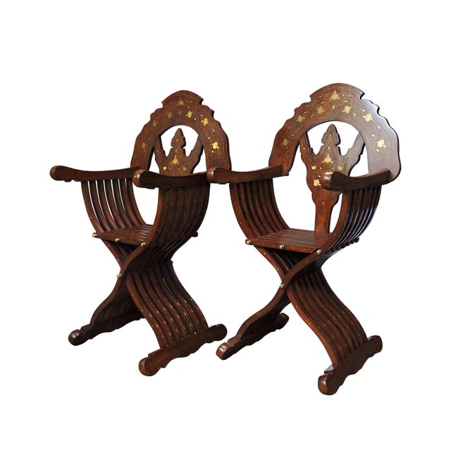 Asian Magnificent Persian Savonarola Folding Solid Rosewood, Brass & Copper Inlayed Armchairs - a Pair For Sale - Image 3 of 8