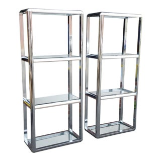 Pair Matching 1980s Contemporary Chrome Etagere Shelves W/ Glass Tops