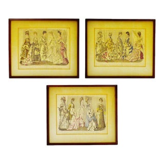 Antique Victorian Fashion 1870's Godey's Fashion Prints - Set of 3 For Sale