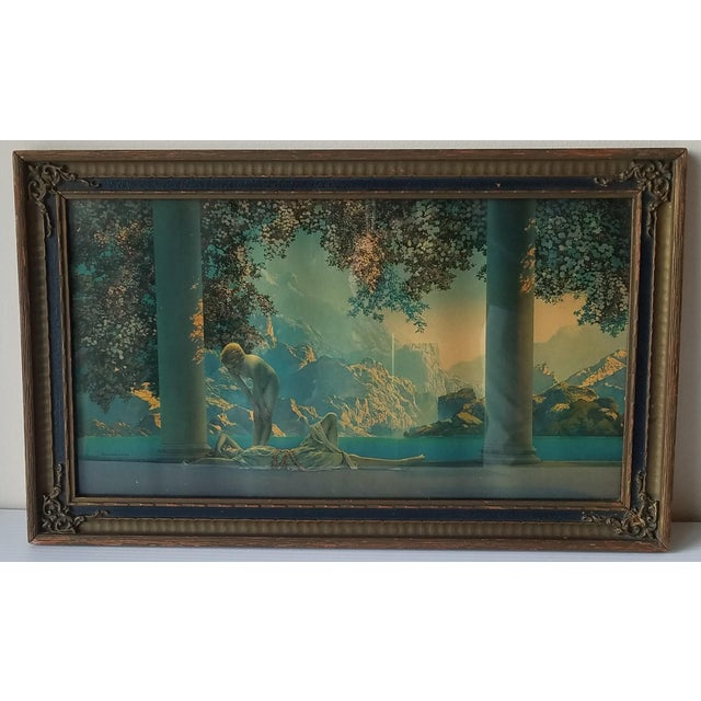 "1920s ""Daybreak"" Art Deco Figurative Lithograph After Maxfield Parrish, Framed For Sale - Image 9 of 9"