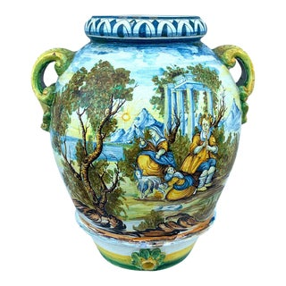 Italian Majolica Scenic Olive Oil Jar/ Jardinière, Provenance Celine Dion For Sale
