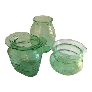 Minimalist Green Glass Vases - Set of 3