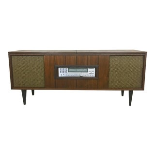 Mid Century Refurbished Stereo Console Cabinet With Turntable For Sale