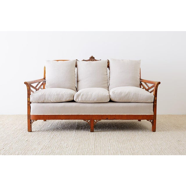 Black English Chinoiserie Chippendale Style Pagoda Top Settee For Sale - Image 8 of 13