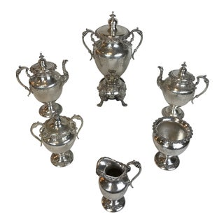 Antique Victorian Sheffield Style Silver Plated Coffee / Tea Set With Hot Urn - 6 Piece Set For Sale