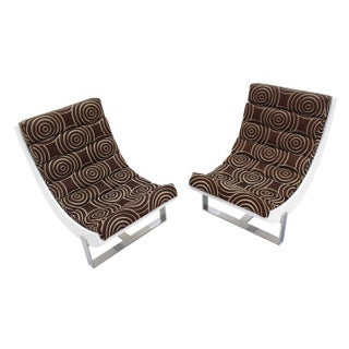 White Lacquer Chrome Bases Scoop Lounge Chairs Mid Century Modern - A Pair Preview