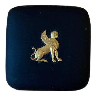 1970s Vintage Wedgwood Black & Gilt Basalt Egyptian Winged Sphinx Ring/Trinket Box For Sale