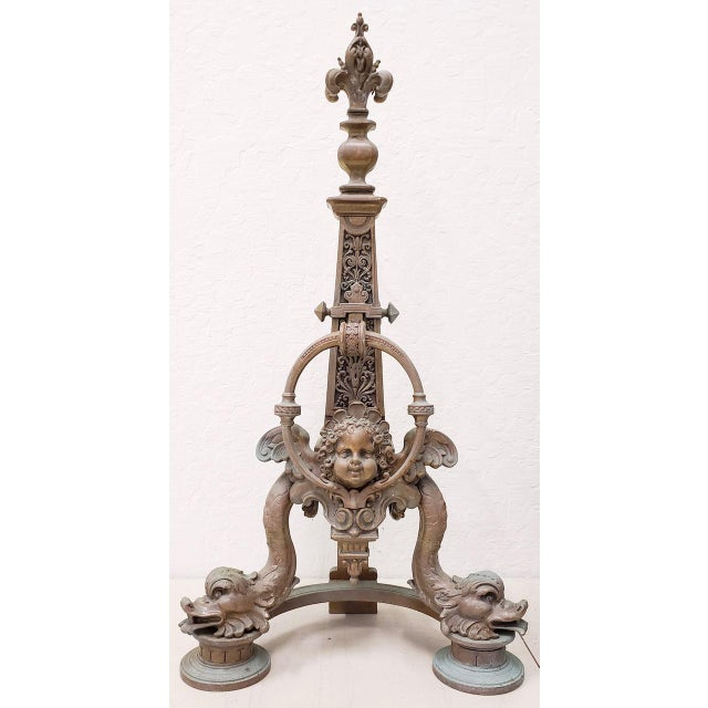 Pair of Late 19th Century French Baroque Bronze Chenets / Andirons A remarkable pair of antique French andirons....