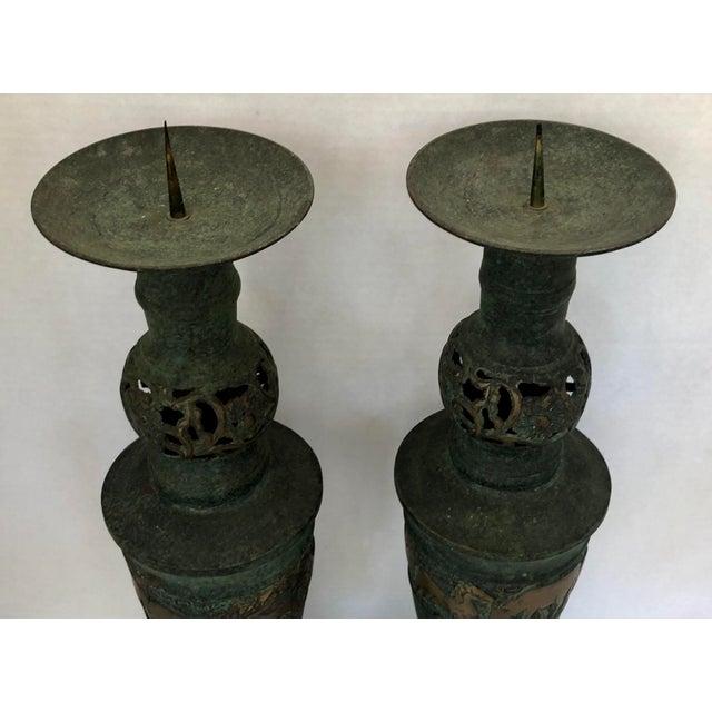 James Mont Style Greek Key/Horses Design Cast Bronze Verdigris Floor Candlesticks - a Pair For Sale - Image 11 of 12