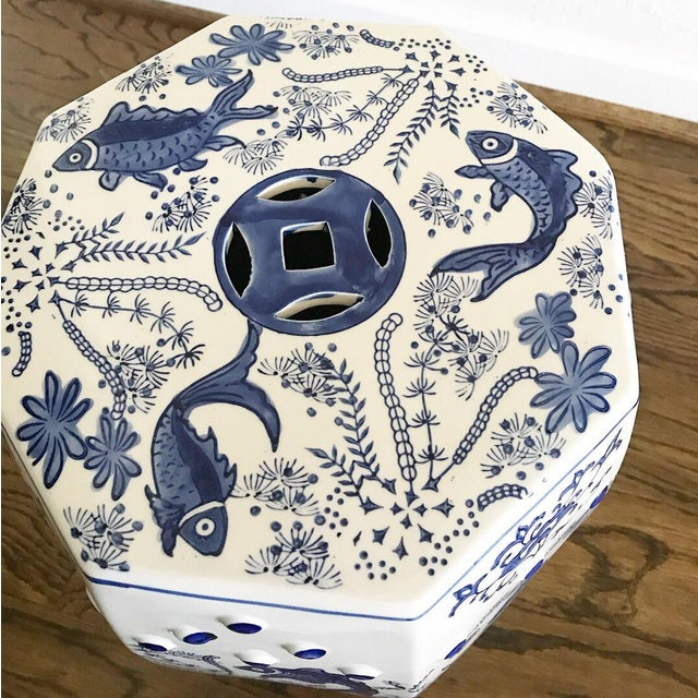 Chinese Koi Fish Blue & White Garden Stool - Image 3 of 4