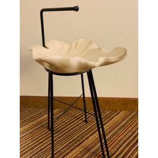 Vintage Atomic Iron Catchall Bowl on Stand or Smoking Stand Modernist Ceramic Ashtray - Arno Scheiding Style Preview