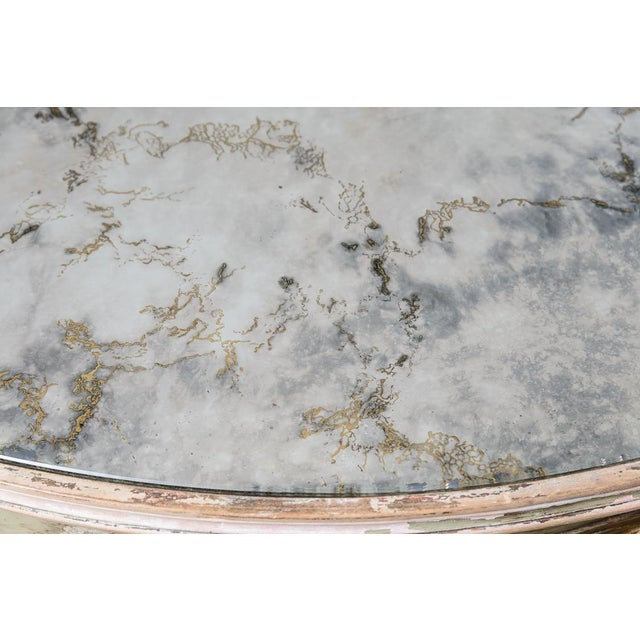 Green Italian Large Oval Painted Louis XV Style Table With Antiqued Mirrored Top For Sale - Image 8 of 13