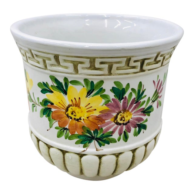 Hand Painted Italian Cache Pot For Sale