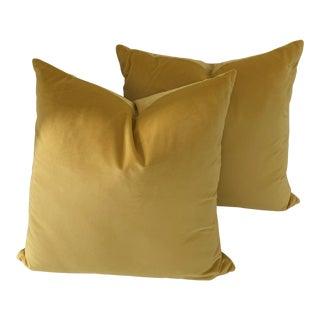 Contemporary Yellow Velvet Pillows- a Pair For Sale