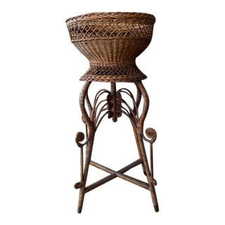 19th Century Heywood-Wakefield Rattan, Wicker and Oak Plant Stand For Sale