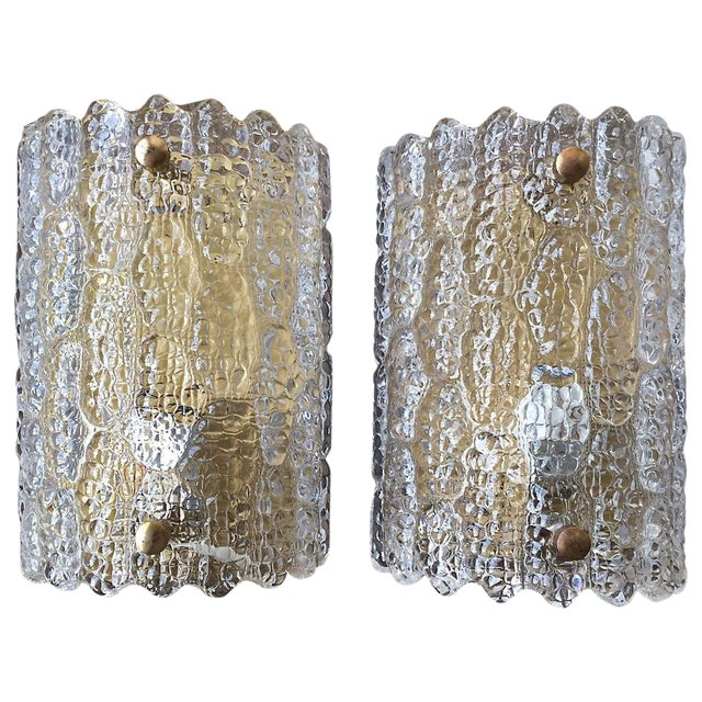 Large Sconces by Orrefors - a Pair For Sale