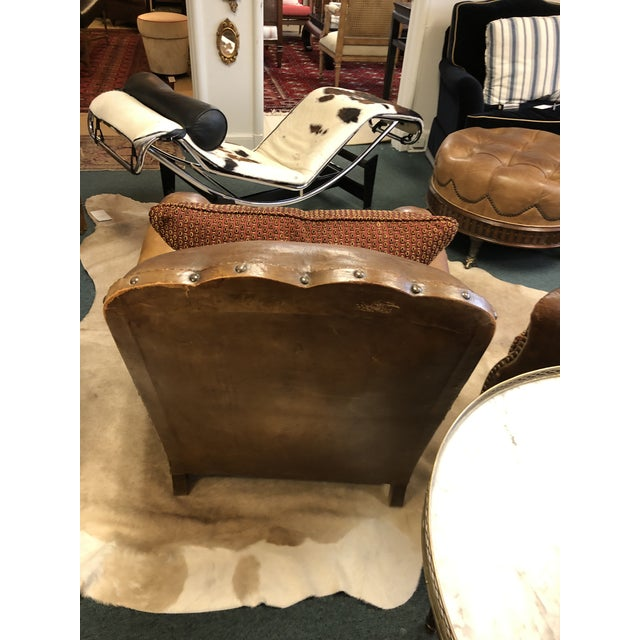 Brown 1930's French Leather Chairs For Sale - Image 8 of 9