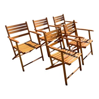 1980s Folding Wood Outdoor Chairs by Telescope & Co. - Set of 5 For Sale