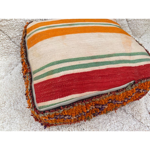 Moroccan Red Unstuffed Pouf For Sale - Image 9 of 13