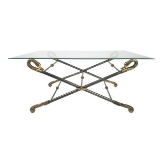 Pewter and Brass Swan Table With Glass Top For Sale