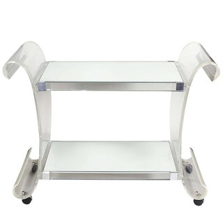 1970s Mid-Century Modern Charles Hollis Lucite Mirrored Bar Cart For Sale