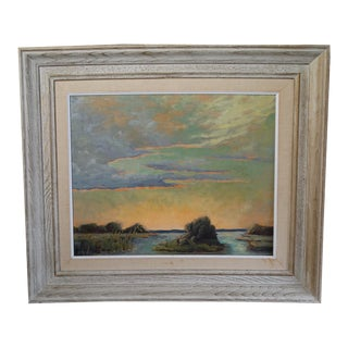 Arleen Huseby Sunset on the Marsh Oil on Board Painting For Sale