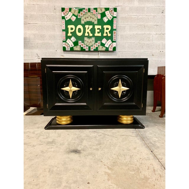 Classic French Art Deco Sideboard / Buffet / Bar 1940s made of mahogany , the mahogany wood has been ebonized and finished...