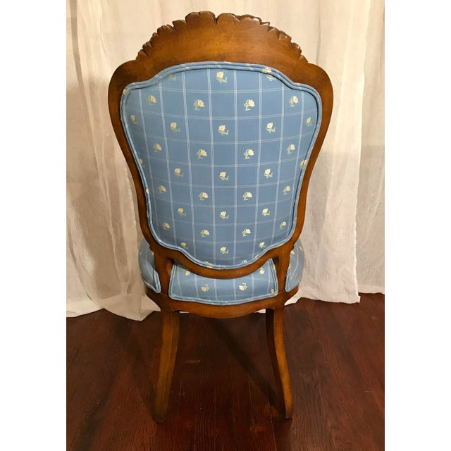 Antique Carved Wood Chair With Brass Wheels For Sale - Image 4 of 7