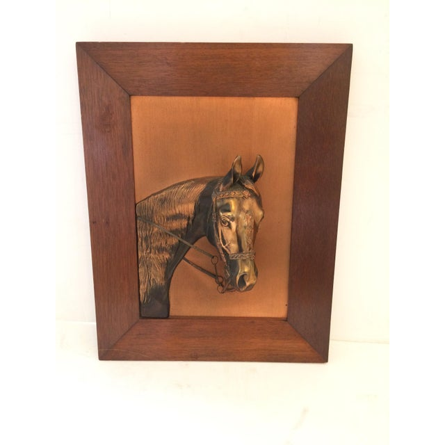 Vintage Framed Copper Equestrian Horse Head in Relief For Sale In Philadelphia - Image 6 of 10