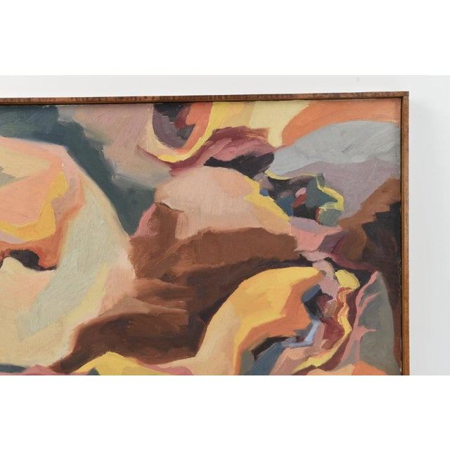 1960s Large Mid-Century Abstract Oil Painting on Canvas For Sale - Image 5 of 10