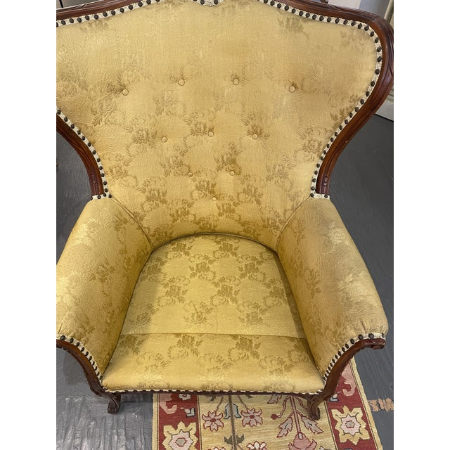 1950s Vintage French Wingback Mahogany Chair For Sale In Boston - Image 6 of 7