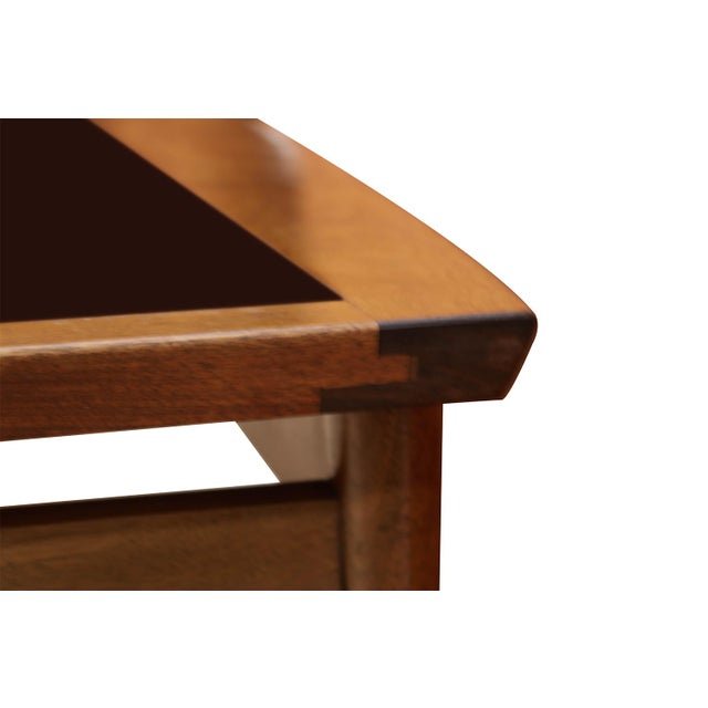 1960s Mid Century Modern Surfboard Coffee Table American of Martinsville Dania Collection Walnut Black Laminate For Sale - Image 5 of 11